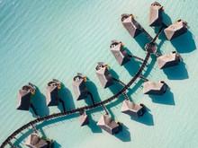 Luxury Overwater Villas With Coconut Palm Trees, Blue Lagoon, White Sandy Beach At Bora Bora Island, Tahiti, French Polynesia