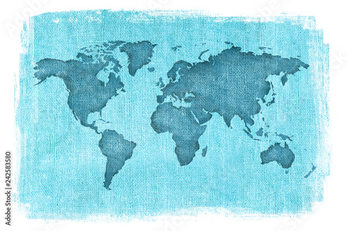 World map layered over a textured burlap background with