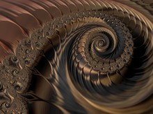 Abstract Brown Textured Spiral Fractal. 3d Render Background For Posters, Website And Flyer Design. Computer Generated Graphic.
