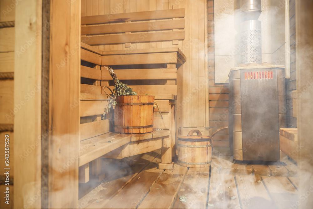 Fototapeta Interior of Finnish sauna, classic wooden sauna, Relax in hot sauna