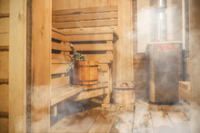 Interior Of Finnish Sauna, Classic Wooden Sauna, Relax In Hot Sauna