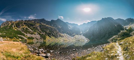 Tatra National Park, Poland. Lake Czarny Staw Under Rysy And Sum
