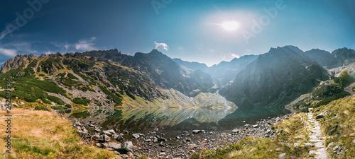 Fototapeta Tatra National Park, Poland. Lake Czarny Staw Under Rysy And Sum obraz