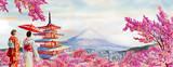 Słynne zabytki Japonii na wiosnę. - 242588116