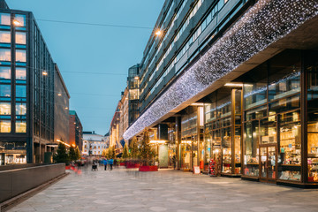 Helsinki, Finland. Shopping Center In New Year Lights Christmas