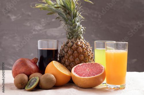 Obraz na plátne three glass juies for diet lifestyle, chalk background