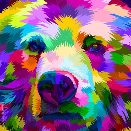 фотография  colorful bear close up