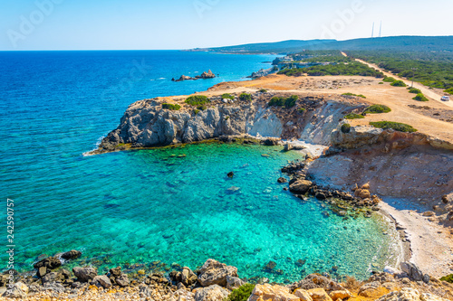 Photo Stands Cyprus Ragged coast of Zafer Burnu known as Cape Apostolos Andreas on Cyprus