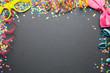 Leinwandbild Motiv Karneval Fasching Silvester Konfetti Luftschlangen Party Hintergrund