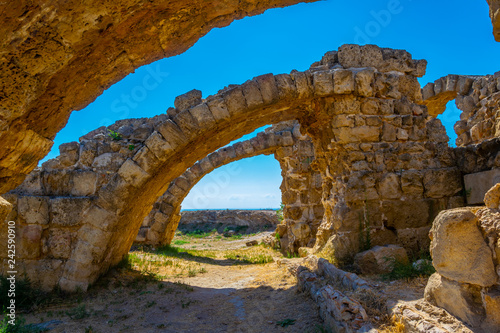 Ruins of Gymnasium at ancient Salamis archaeological site near Famagusta, Cyprus Wallpaper Mural