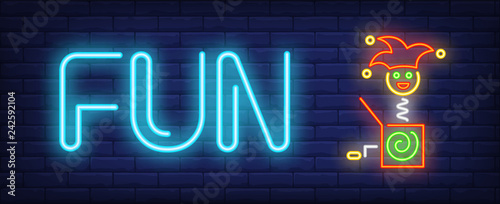 Fun neon text with jack in box toy Canvas Print