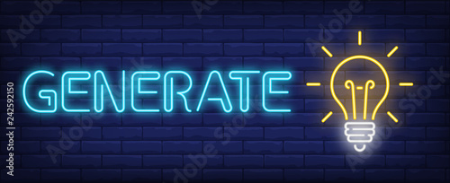 Generate neon text with glowing light bulb  Idea concept