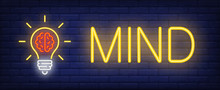 Mind Neon Text With Light Bulb...