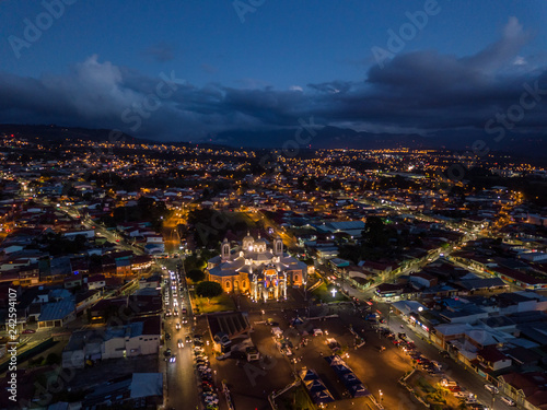 Staande foto Afrika Beautiful aerial night view of the Basilica of Cartago in Costa Rica