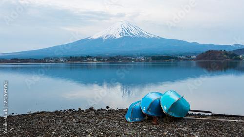 Keuken foto achterwand Asia land Mount fuji at Lake kawaguchiko.