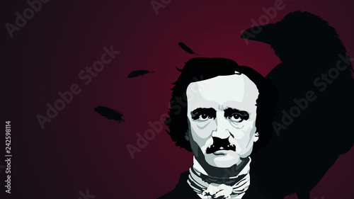 Writer Edgar Allan Poe Vector Background Canvas Print