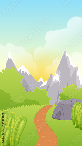 Cute Cartoon Game Landscape Background With Hill Road