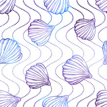 Colorful Sea Shells Vector Seamless Pattern. Vibrant Summer Background.