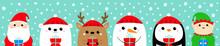 Santa Claus Elf White Bear Snowman Raindeer Deer Penguin Face Icon Set. Holding Gift Box. New Year. Merry Christmas. Cute Cartoon Funny Kawaii Baby Character. Flat Design Blue Snow Background.