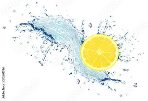 lemon slice water splash isolated on white