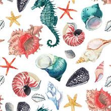 Watercolor Sea Life Pattern