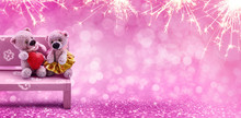 Valentine's Day, Concept. Couple Sweet Bears With Heart On Rose Light Bokeh Background.