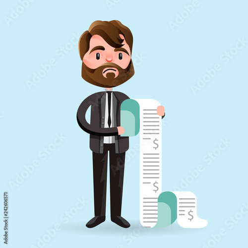 Fotografie, Obraz  Cartoon man looking unhappy while holding long paper bills on blue background