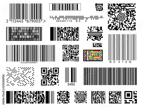 Valokuva  Graphic collection of different types of bar and QR codes isolated on white back