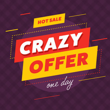 Stylish Bright Poster With Hot Sale And Crazy Offer Banners Advertising Discounts For One Day