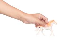 Hand Holding Toy Plastic Animals Isolated On White Background