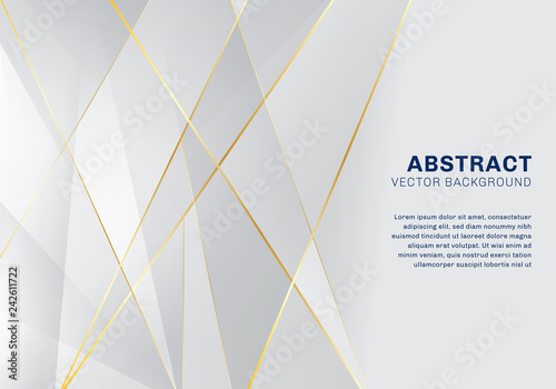 Obraz Abstract polygonal pattern luxury on white and gray background with golden lines. - fototapety do salonu