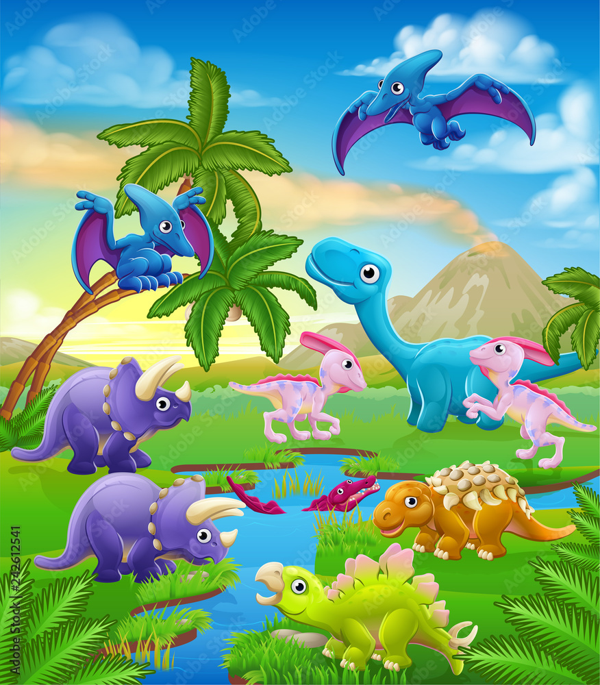 Fototapeta A dinosaur cartoon cute animal background prehistoric landscape scene.