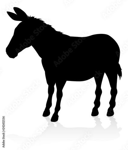 Photo A detailed high quality donkey farm animal silhouette