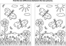 Spring Or Summer Joy Themed Find The Ten Differences Picture Puzzle And Coloring Page With Butterflies, Flowers, Grass.