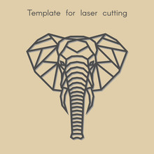 Template Animal For Laser Cutting. Abstract Geometric Elephant For Cut. Stencil For Decorative Panel Of Wood, Metal, Paper. Vector Illustration.