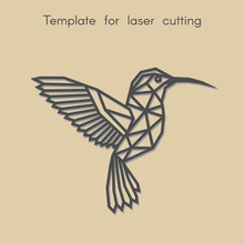 Template Animal For Laser Cutting. Abstract Geometric Hummingbird For Cut. Stencil For Decorative Panel Of Wood, Metal, Paper. Vector Illustration.