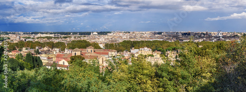 Panorama Arial View Of Rome City From Janiculum Hill