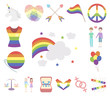 Gay and lesbian cartoon icons in set collection for design.Sexual minority and attributes vector symbol stock web illustration.