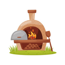 Wood-fired Outdoor Oven On Gre...