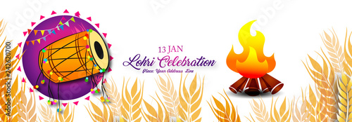 Fotografie, Obraz Happy Lohri illustration background for Punjabi harvest festival - Vector