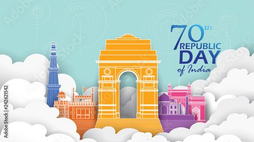 Cuadros en Lienzo Happy Indian Republic day Vector illustration or background for 26 January celeb