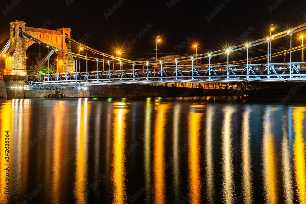 Fototapety, obrazy: Most Grunwaldzki nocą, Wrocław