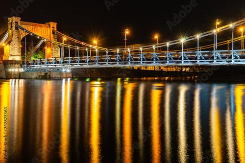 Obraz Most Grunwaldzki nocą, Wrocław - fototapety do salonu