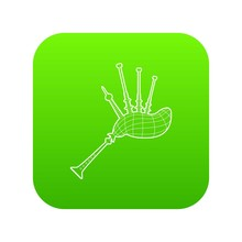 Bagpipe Icon Green Vector Isolated On White Background