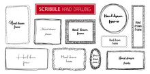 Set Hand Drawn Scribble Frame Isolated On White. Doodle Frames Style Sketches. Shaded And Hatched Badges. Monochrome Vector Design Elements.