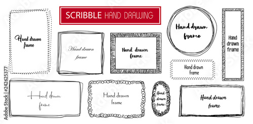 Fototapeta Set Hand drawn scribble frame isolated on white. Doodle frames style sketches. Shaded and hatched badges. Monochrome vector design elements.  obraz