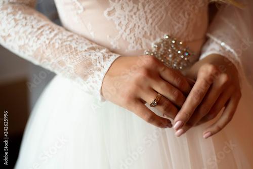 Tableau sur Toile Bride wedding details - wedding white dress