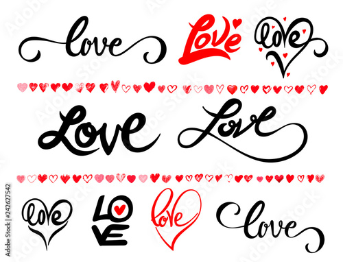 Set of hand written lettering about love to valentines day design poster, greeting card, photo album, banner, calligraphy. Vector illustration. Isolated on white background.