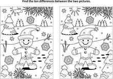 Winter Holidays, Christmas Or New Year Themed Find The Ten Differences Picture Puzzle And Coloring Page With Gingerbread Man Cookie.