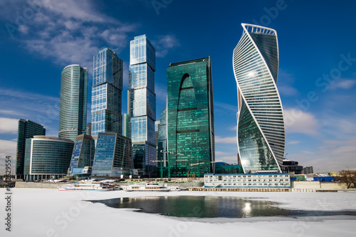 Foto op Aluminium Aziatische Plekken Moscow City - view of skyscrapers Moscow International Business Center.